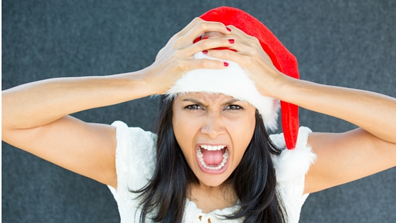 Busy woman frustrated during holidays